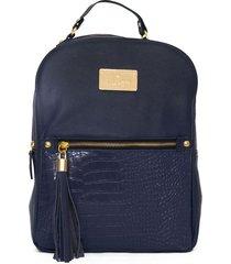mochila de cuero azul merope simona