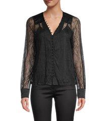 allison new york women's lace v-neck blouse - black - size xs