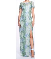 mint lace guipure gown