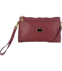 bolsa carteira clutch topgrife transversal couro vermelho - tricae