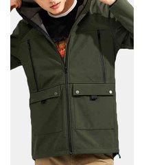 giacca da uomo antivento impermeabile con zip e fodera in pile