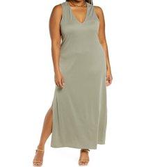 plus size women's open edit sleeveless knit dress, size 3x - green