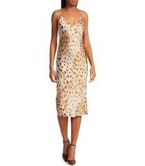 l'agence women's jodie v-neck silk slip dress - brown - size 6