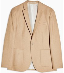 mens beige stone skinny fit single breasted warm handle suit blazer with notch lapels
