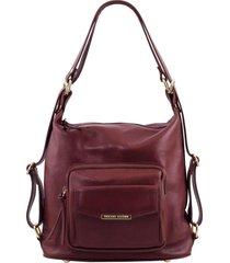 tuscany leather tl141535 tl bag - borsa donna in pelle convertibile a zaino bordeaux