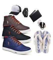 kit 3 pares sapatênis polo blu casual café/preto/azul acompanha boné + cinto + meia + carteira + relógio + chinelo