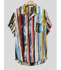 hombre playa holiday bohemia striped classic collar camisa