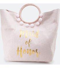 maid of honor circle handle tote - blush