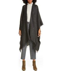 women's brunello cucinelli cashmere & silk poncho, size one size - grey