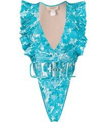 adriana degreas v-neck ruffled trim swimsuit - blue