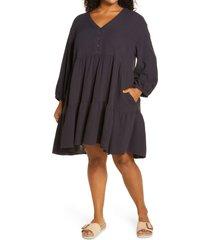 plus size women's madewell colette lightspun long sleeve dress, size 16w - blue