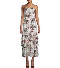 everleigh tiered floral silk dress