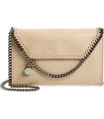 stella mccartney mini falabella shaggy dear faux leather crossbody bag - white