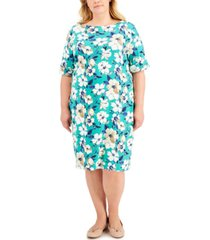 karen scott plus size floral-print boatneck dress, created for macy's