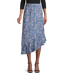 ava & aiden women's paisely asymmetric skirt - multi paisley - size m