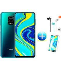 celular xiaomi redmi note 9s 128gb 6ram azul aurora + protector pantalla + audifonos