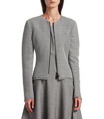 akris punto women's gabor fringe jacket - granite - size 12