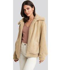 na-kd teddy zipper jacket - beige