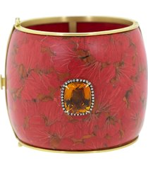 marquetry red ginko bracelet