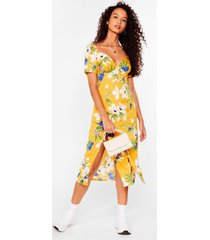 womens feels like summer floral midi dress - yellow