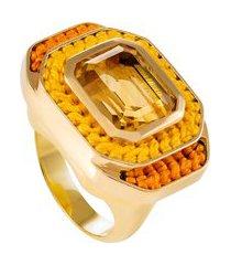 anel feminino degraus bordado mostarda em prata - ouro