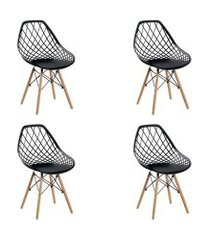 conjunto 04 cadeiras cloe base madeira  preto