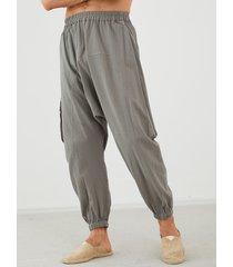 yoins basics hombres moda multi-bolsillo utilidad cintura esteica casual harem pantalones