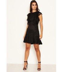 ax paris women's lace tie front frill dress