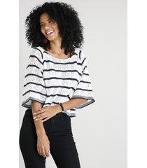 blusa feminina ampla listrada em tricô manga 3/4 decote redondo off white