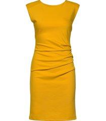 india round-neck dress knälång klänning gul kaffe
