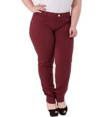 45649bd10 Calças - Plus Size - Feminino - Cintura Alta - Bordô Jeans - 1 ...