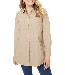 plus size women's foxcroft cicil non-iron button-up tunic, size 16w - beige