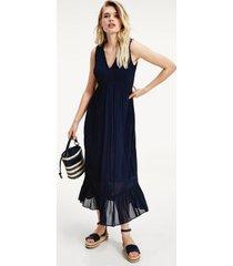 tommy hilfiger women's pinstripe sleeveless dress navy - 2