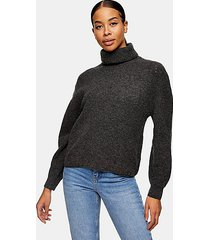 charcoal gray roll neck knitted sweater - charcoal