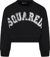 dsquared2 black sweatshirt for girl with white logo