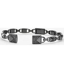 mk bracciale rigido aperto con cerniera in argento sterling rodiato nero con pavé - nero (nero) - michael kors