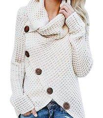 2019 otoño invierno suéter de cuello alto grueso grueso prendas de-beige