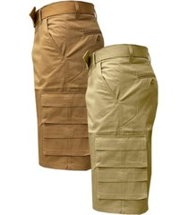 galaxy by harvic men's 7-pocket cargo shorts with belt, pack of 2