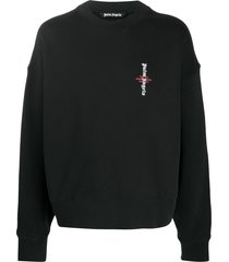 palm angels logo-print drop-shoulder sweatshirt - black