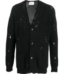 laneus distressed effect cardigan - black