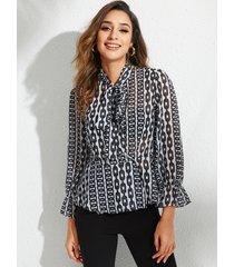 blusa de patrón de cadena de diseño anudado negro yoins