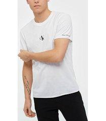 calvin klein jeans small logo regular ss tee t-shirts & linnen vit