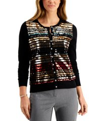 charter club petite sequin-striped cardigan sweater, created for macy's