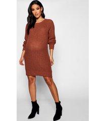 zwangerschap zachte gebreide trui jurk, tabak