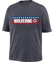 wolverine men's block short sleeve graphic tee granite, size m