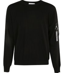 moschino patched pocket ribbed sweater