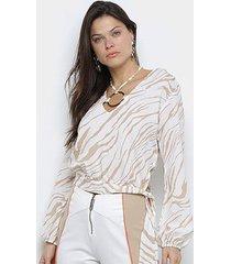 blusa acostamento manga longa estampada argola feminina