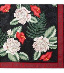 gucci floral print scarf - black