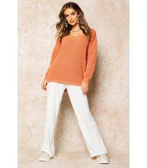 oversized v neck sweater, apricot