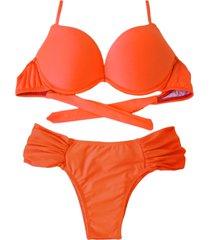 biquíni bojo bolha alça estreita divance calcinha lateral dupla franzida havana laranja